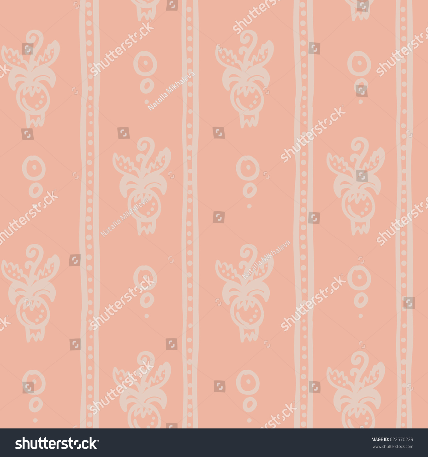 Classic Striped Floral Wallpaper Peach Color Stock Vector Royalty