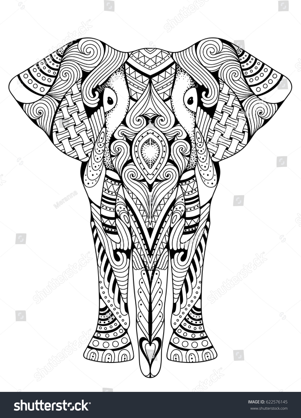 Elephant Coloring Book Adults Vector Illustration Stock Vector ...