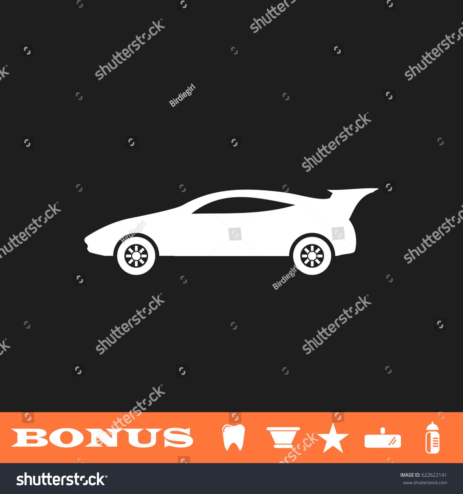 Sport Car Icon Flat Simple White Stock Illustration 622622141