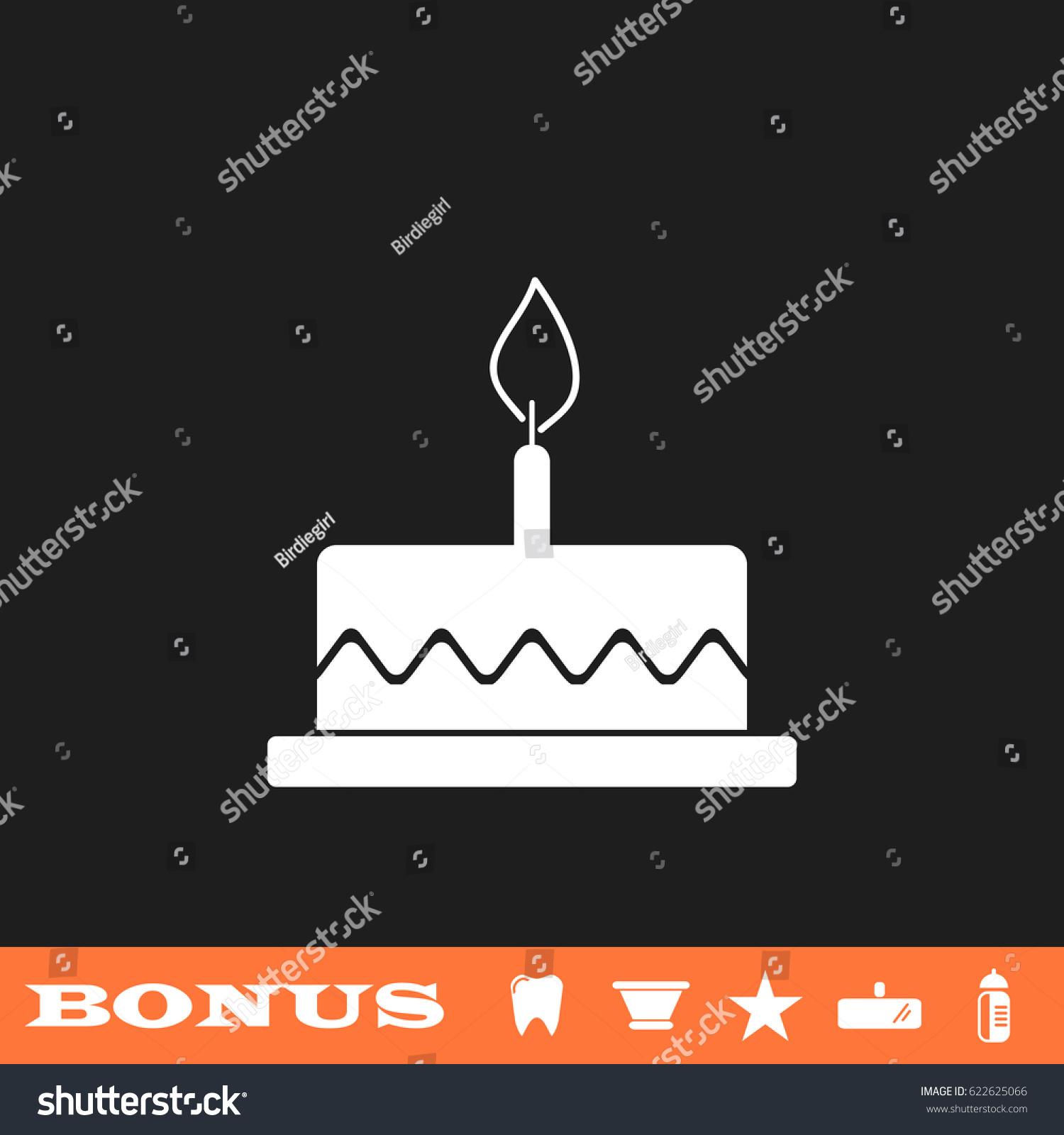 Birthday Cake Icon Flat Simple White Stock Illustration 622625066