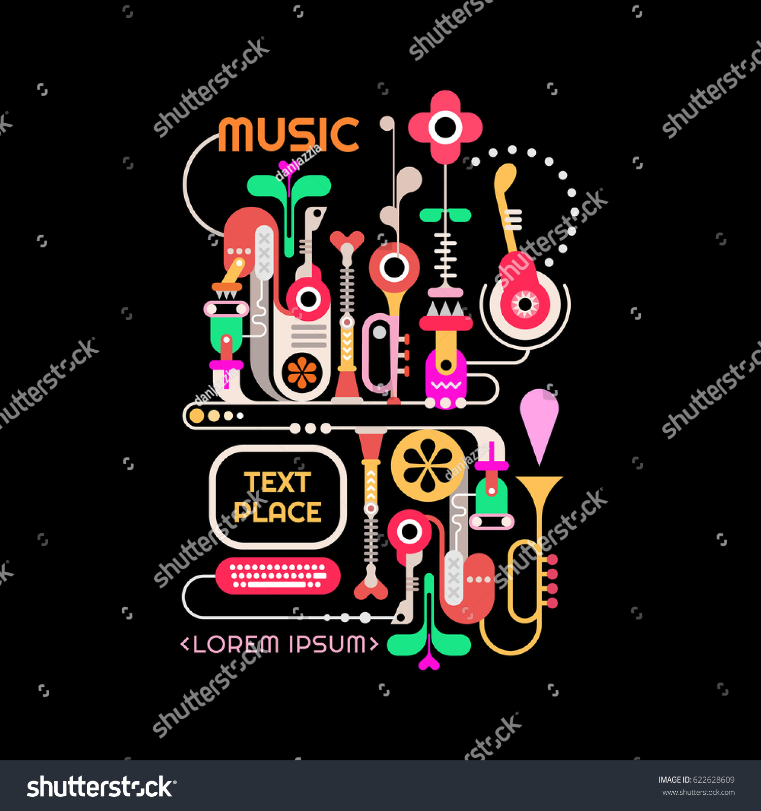 Abstract Music Design Vector Illustration Isolated Stock