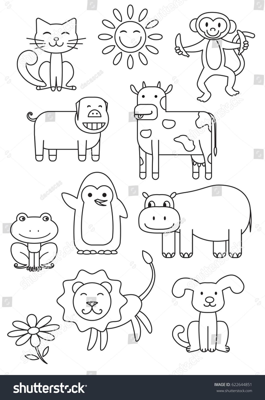 Cartoon Animals Coloring Book Children Vector Stock 622644851