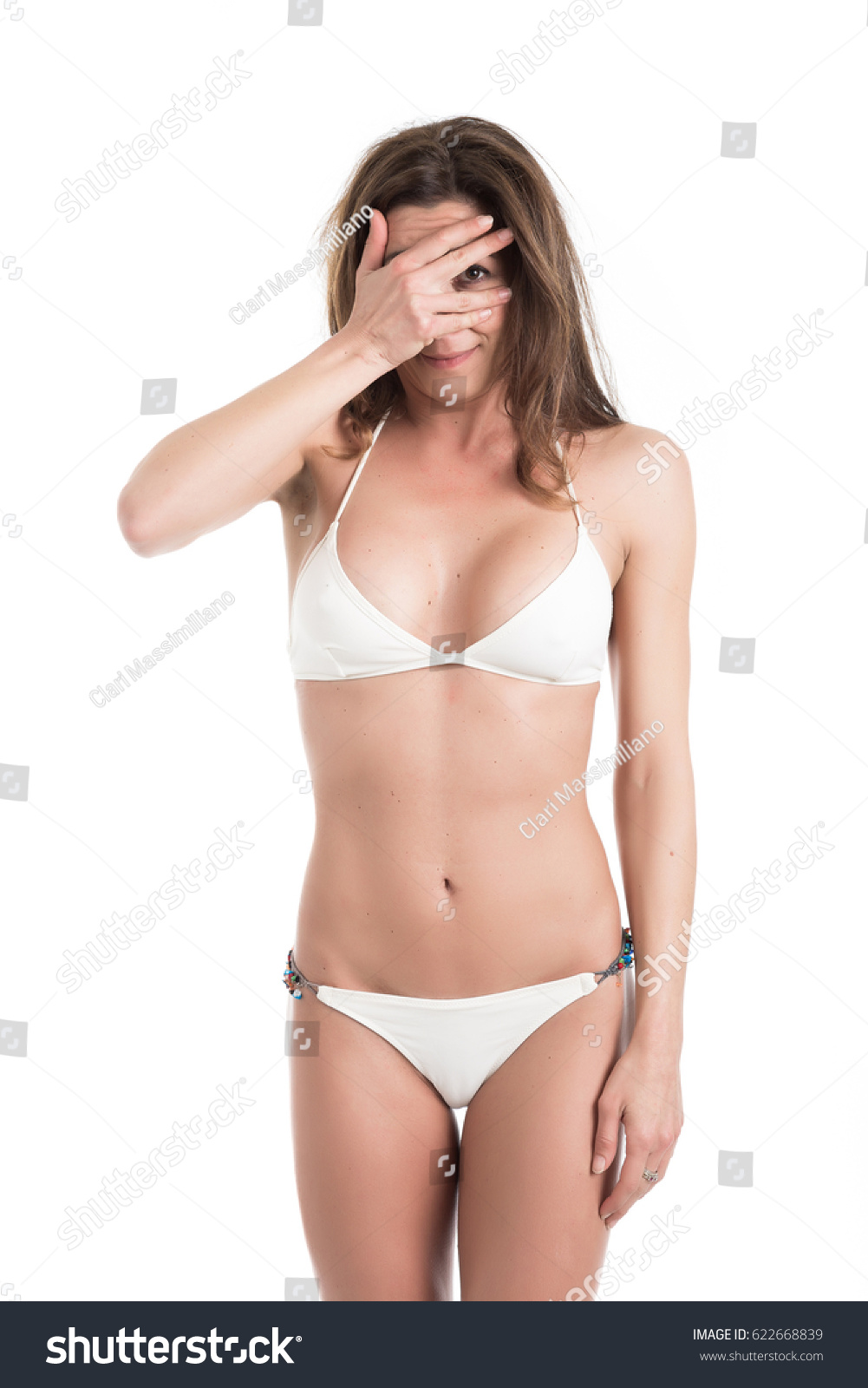 Background image scale to fit - Young Woman In White Bikini Near Scale Unhappy With Her Weight Gesturing Sadness Fit And