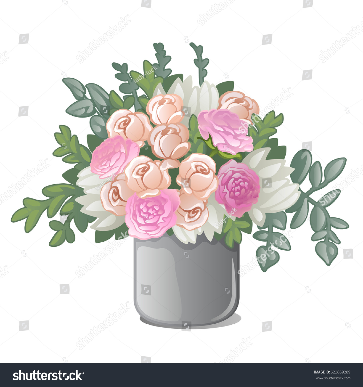 Vase With Bouquet Of Flowers Isolated On White Background Vector