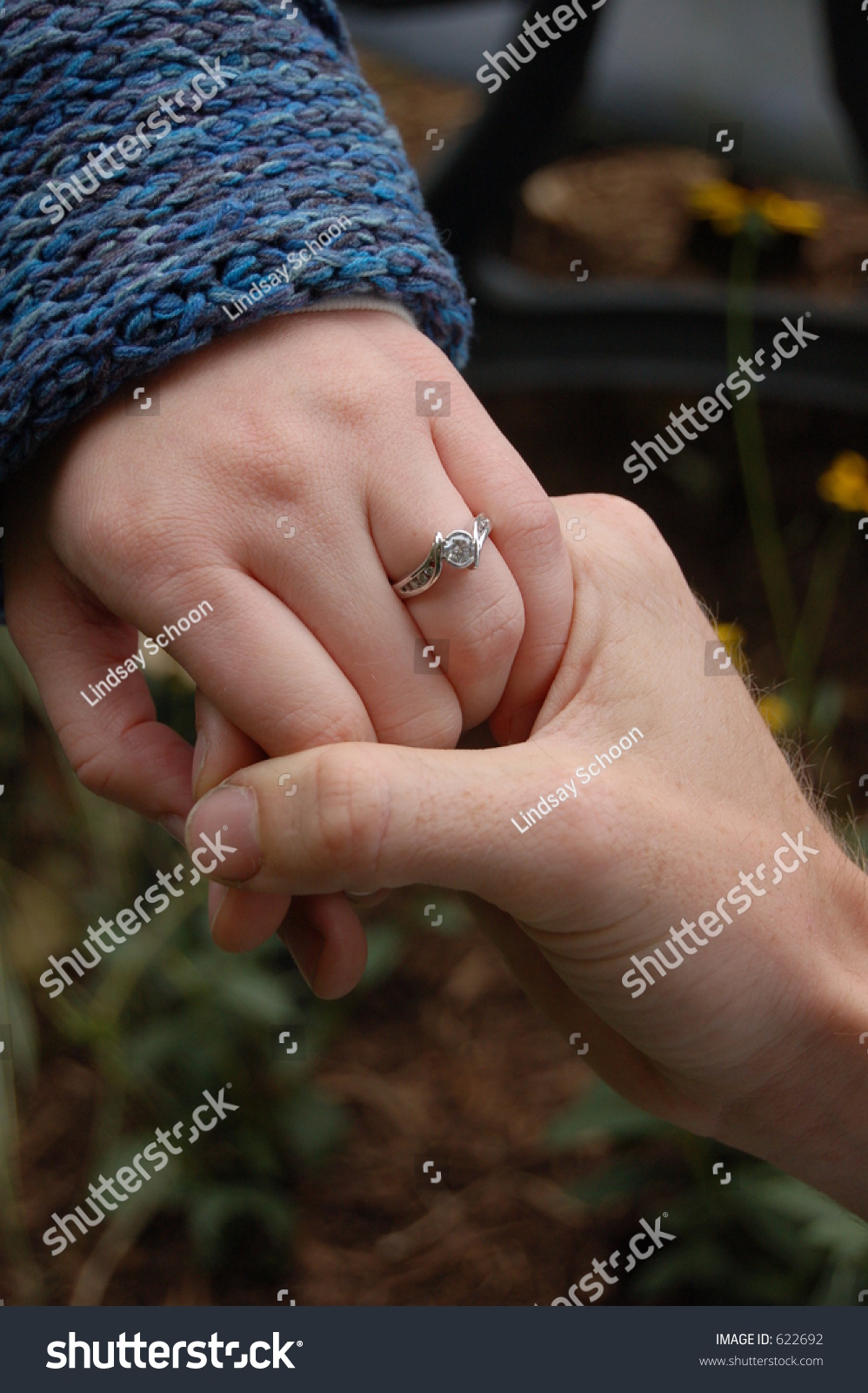 Couple Holding Hands Girl W Engagement Stock Photo 622692 ...