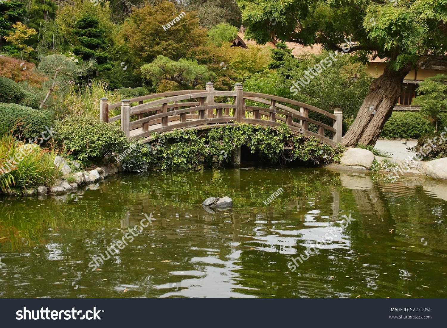 Small Pond Decorative Wooden Bridge Japanese Stock Photo