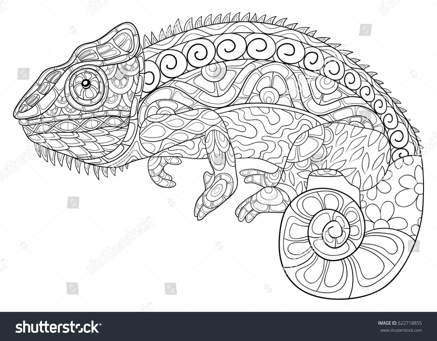 Adult Coloring Page Chameleon Zen Art Stock Vector (Royalty Free ...