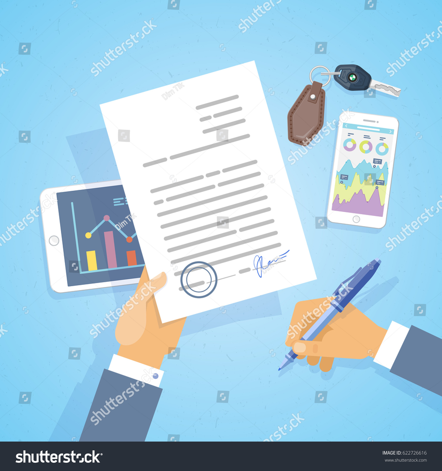 Businessman Signed Business Letter Contract Document Stock Vector
