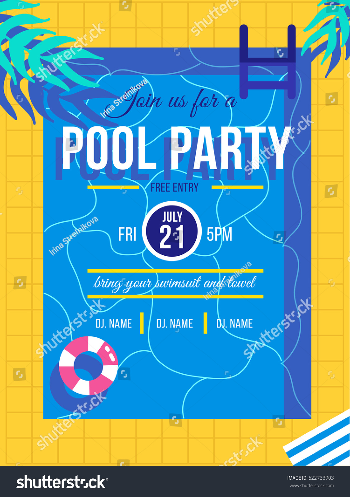 Pool Party Invitation Concept Vector Summer Stock Vector 622733903 ...