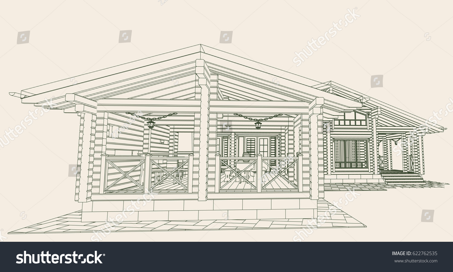 Blueprint wooden house glued profiled beam stock vector 622762535 blueprint of a wooden house from glued profiled beam with the rafters on the roof malvernweather Gallery