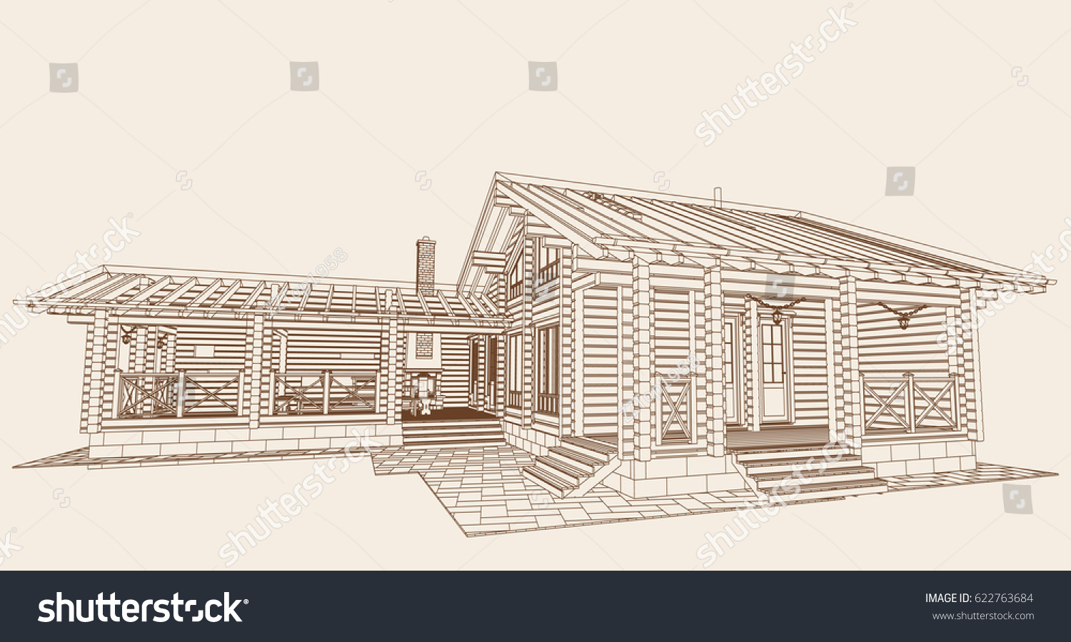 Authors project blueprint wooden house glued stock vector 622763684 the authors project blueprint of a wooden house from glued profiled beam with the rafters malvernweather Gallery