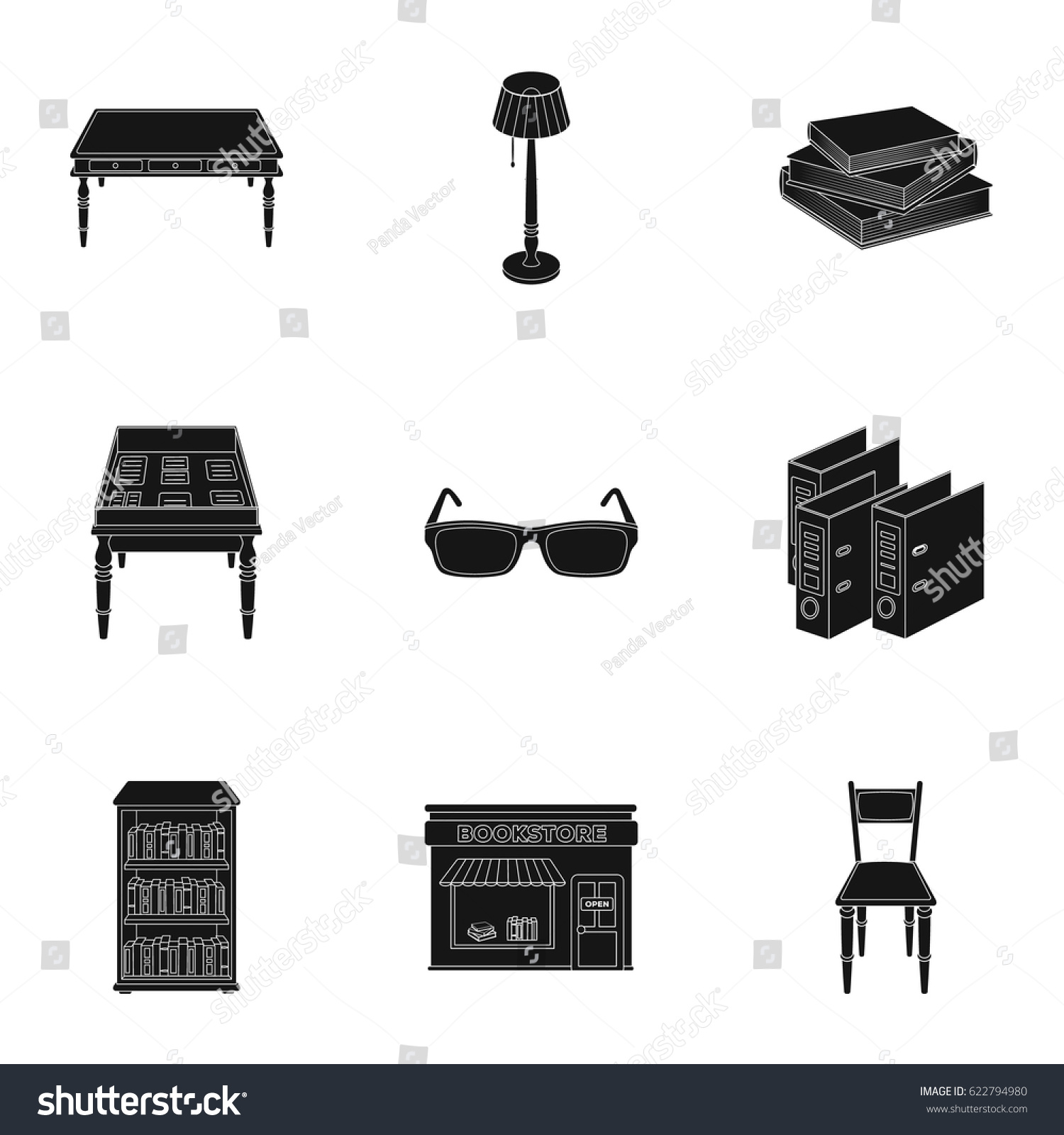 Set Icons Books Seth About Library Stock Vector Royalty Free