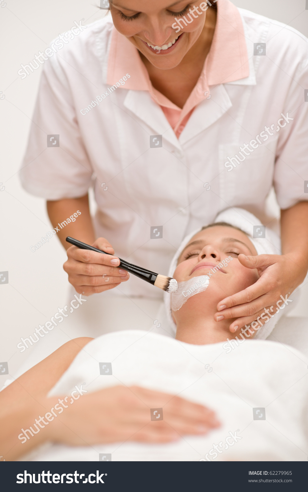Woman at luxury spa beauty treatment getting facial mask for A trial beauty treatment salon