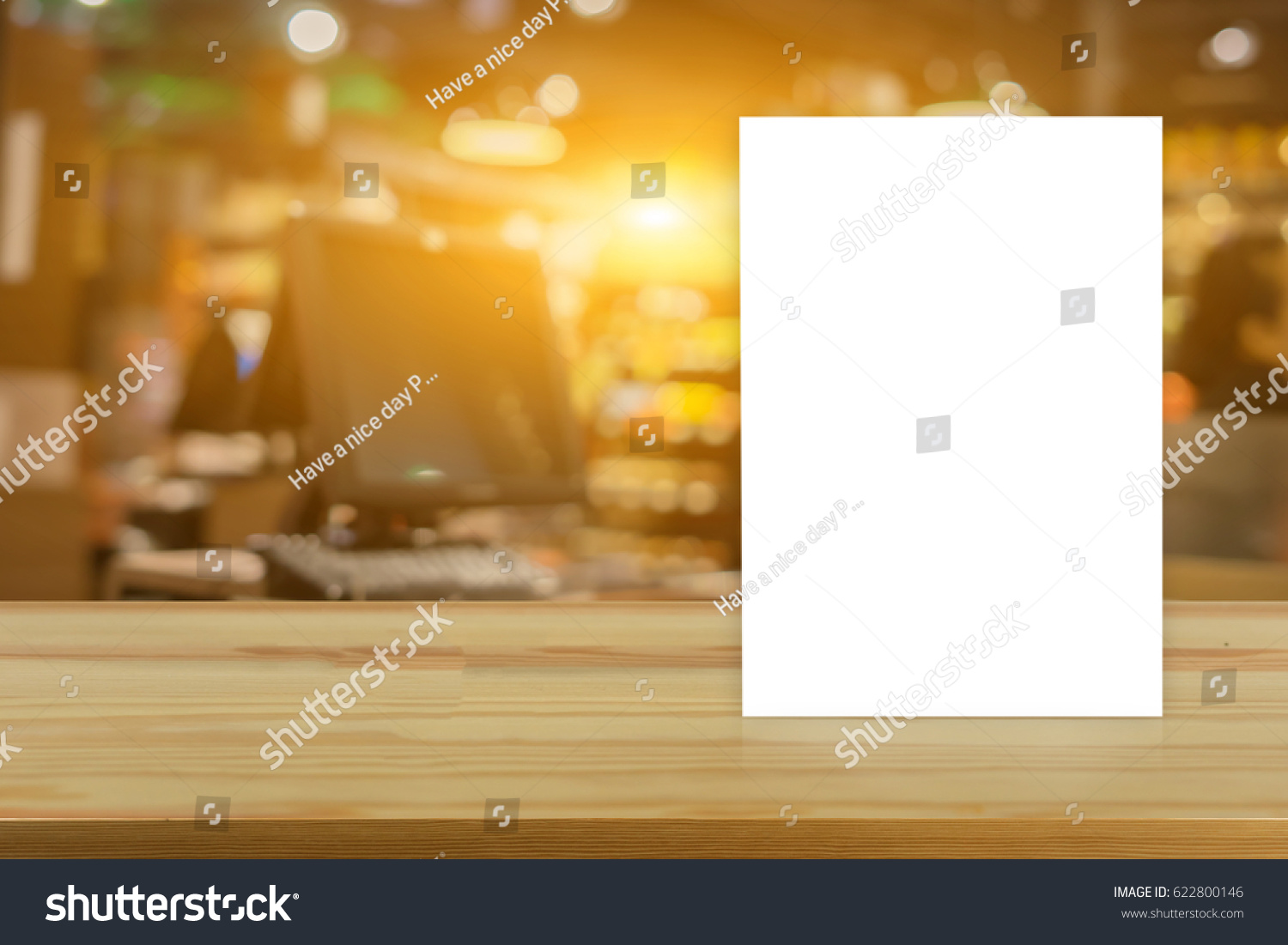 mock menu frame on table bar stock photo edit now 622800146