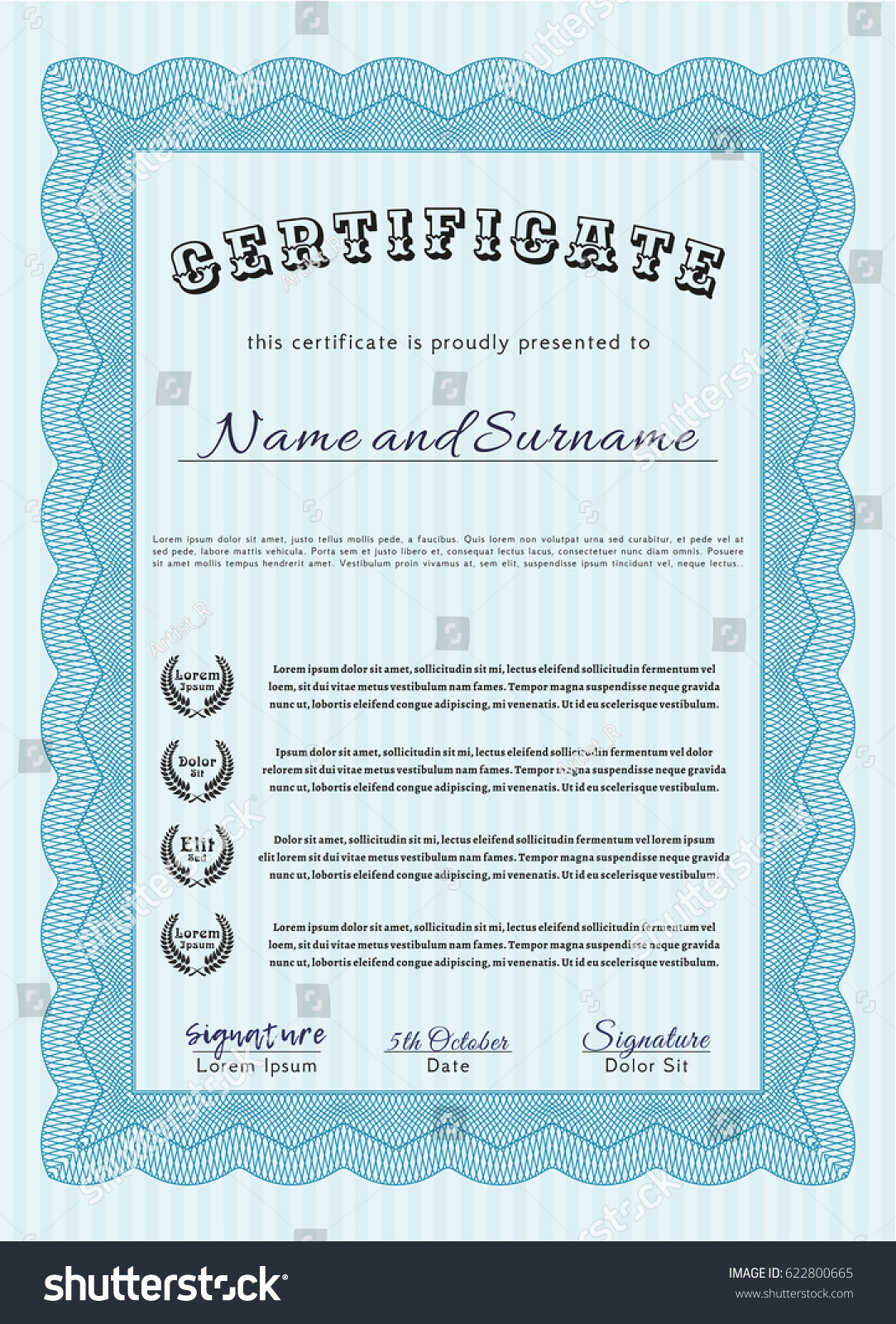 Light Blue Certificate Achievement Template Sophisticated Stock
