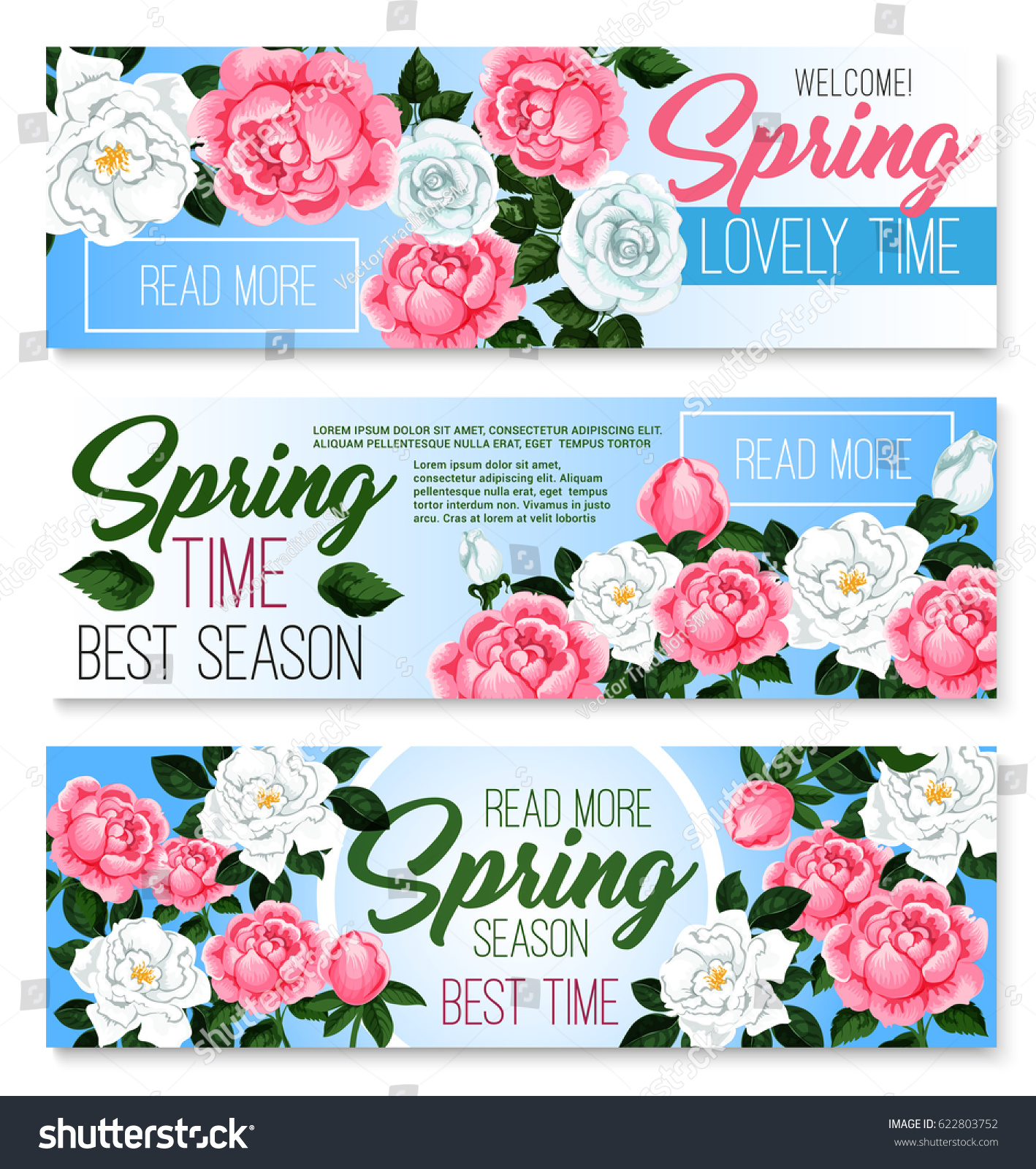 Springtime Seasonal Greeting Banners Set Spring Stock Vector