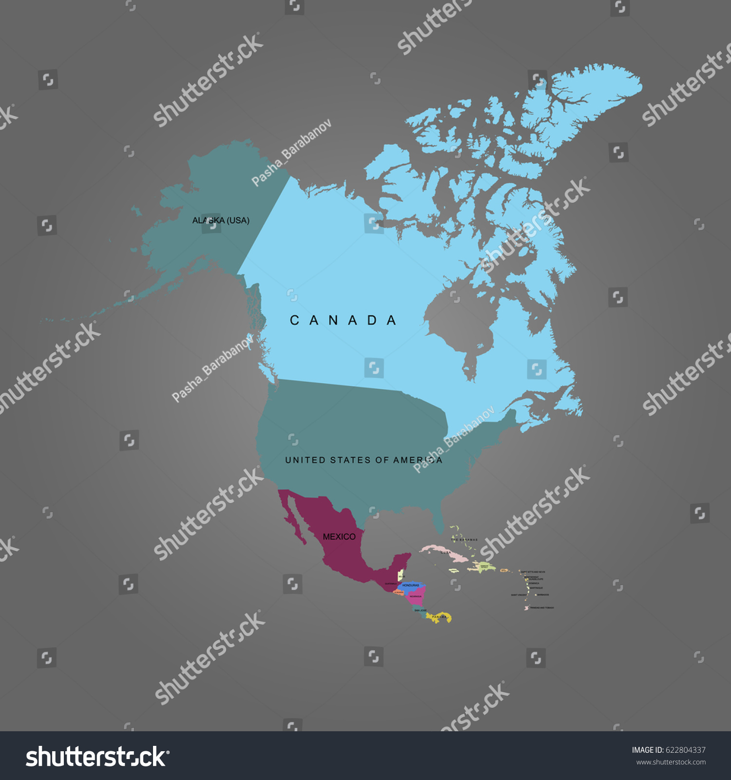 North America Map Detailed%0A usa mexico vector map map north america vector illustration stock vector