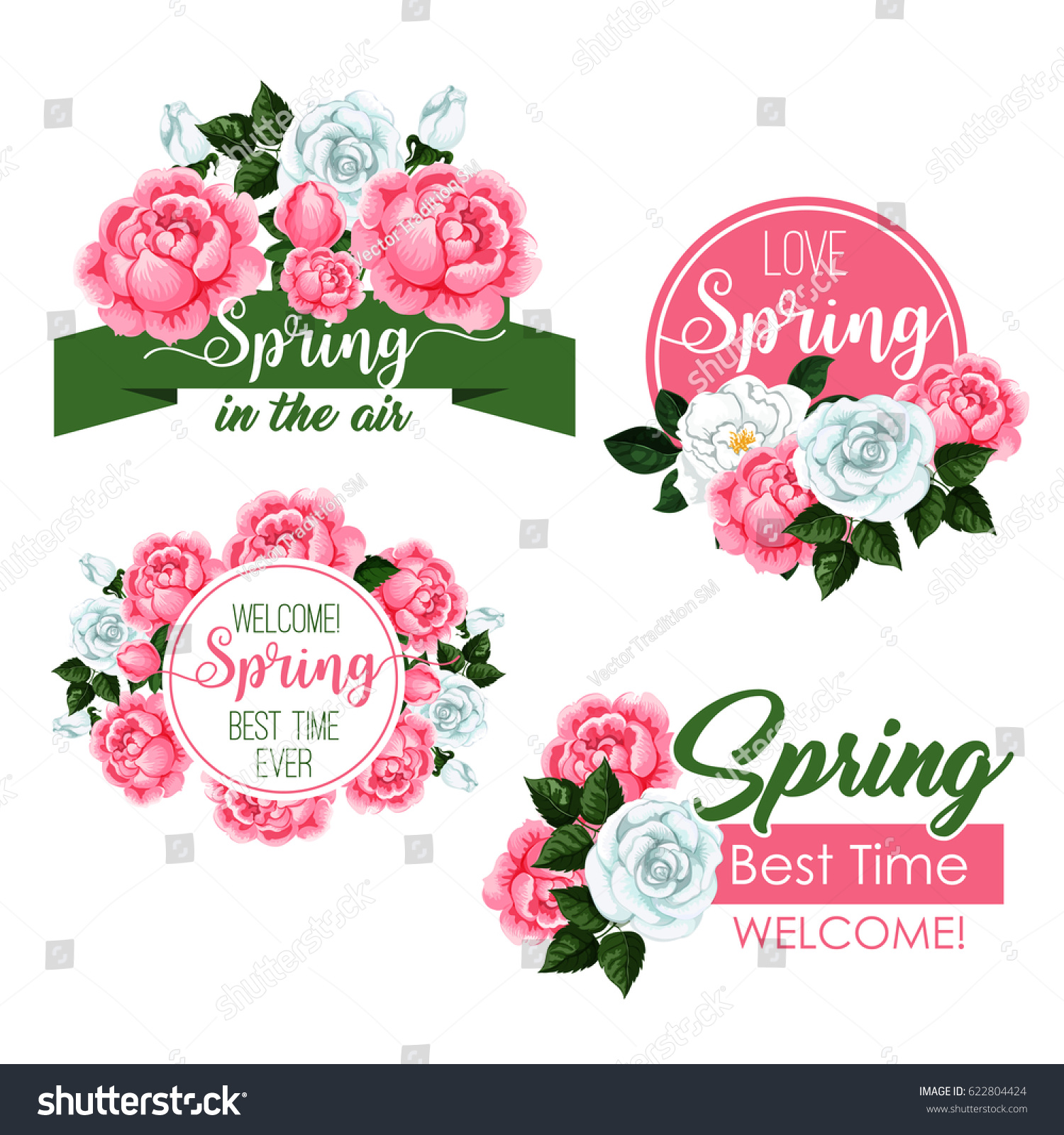 Springtime Quotes Flowers Design Vector Greeting Stock Vector