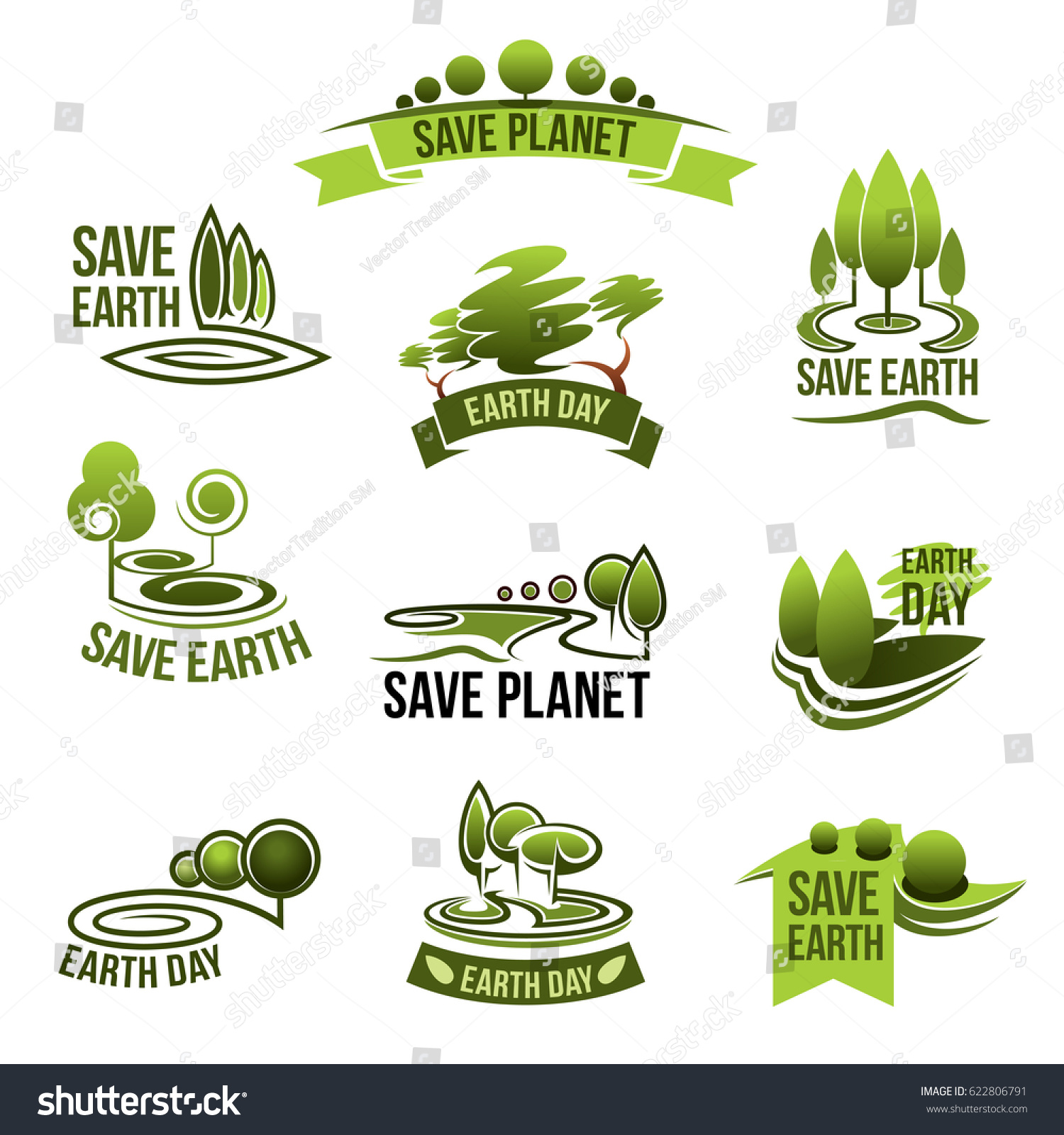 Save Earth Icons Green Nature Planet Stock Vector Royalty Free
