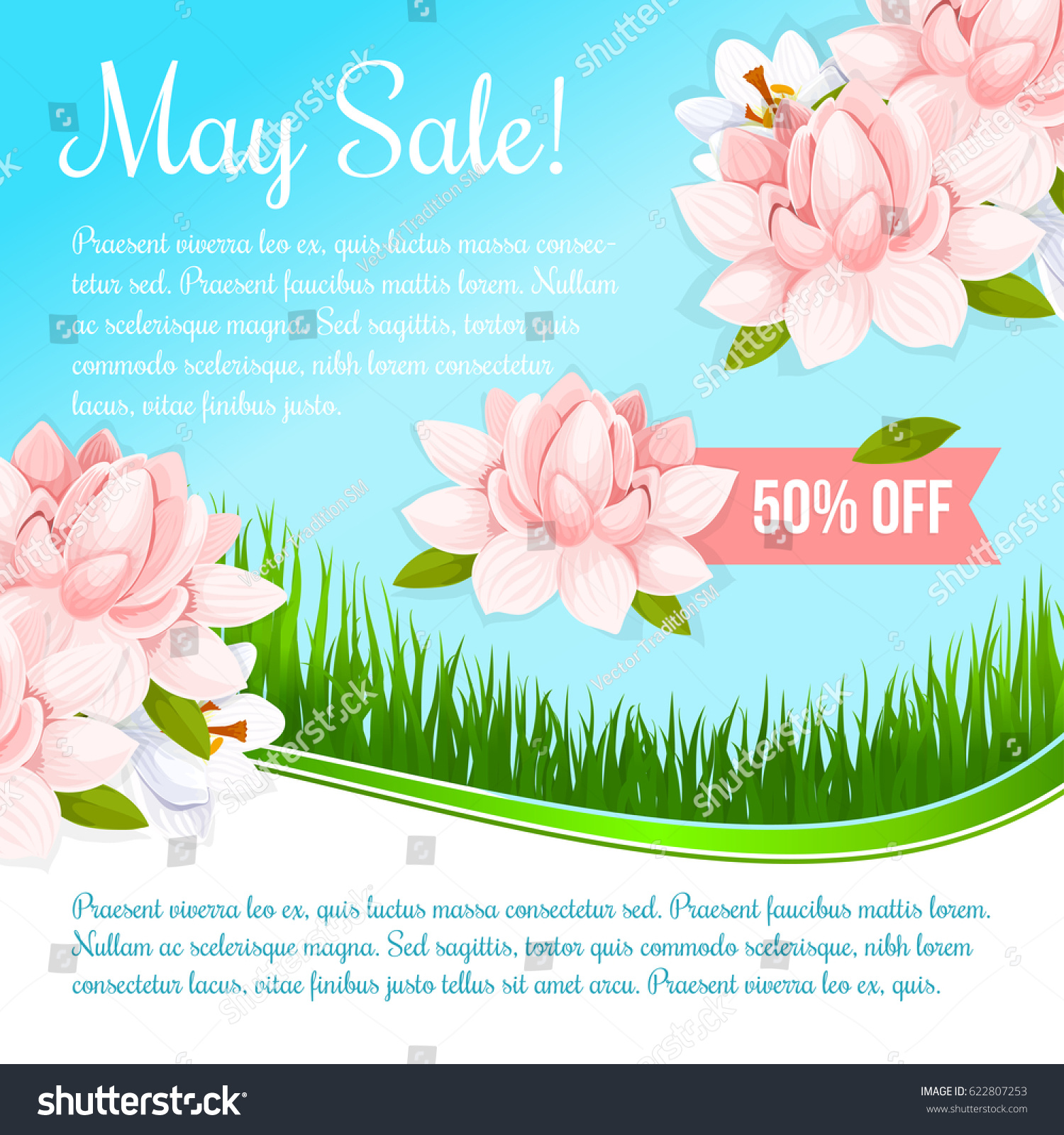 May Spring Sale Vector Poster Lotus Stock Vector 622807253