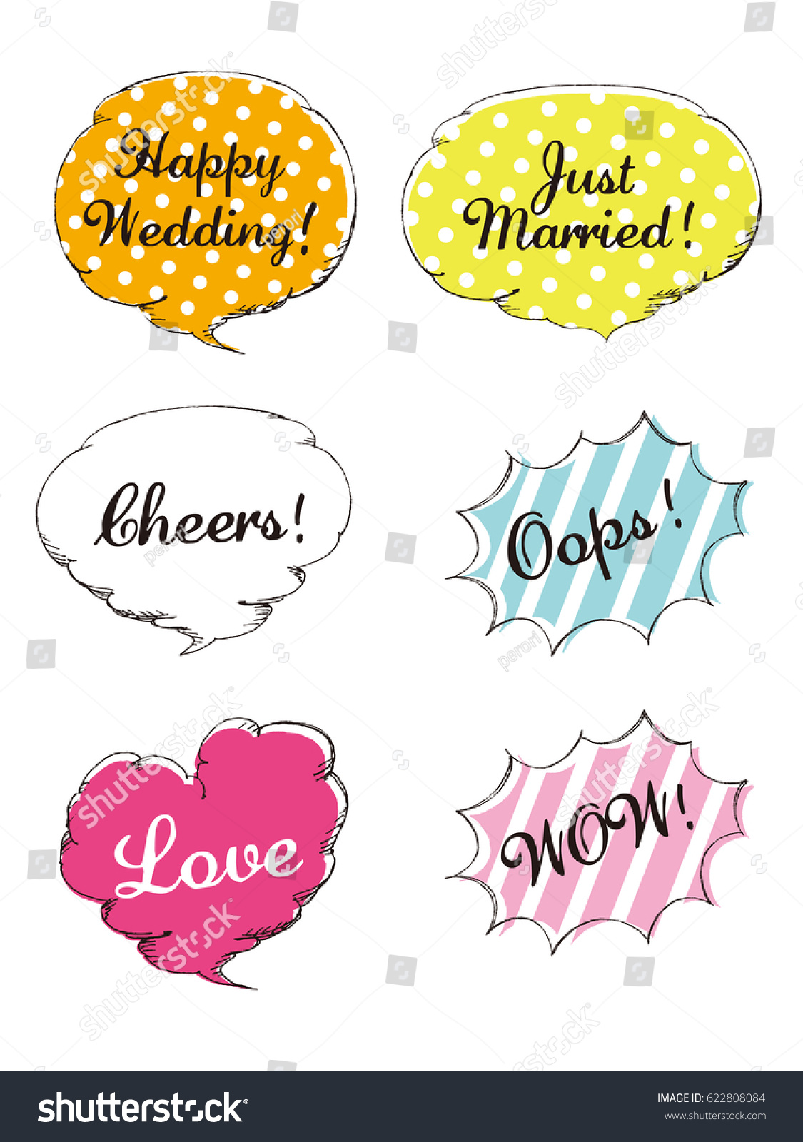 wedding design elements for party props isolated on white background photo booth and vector