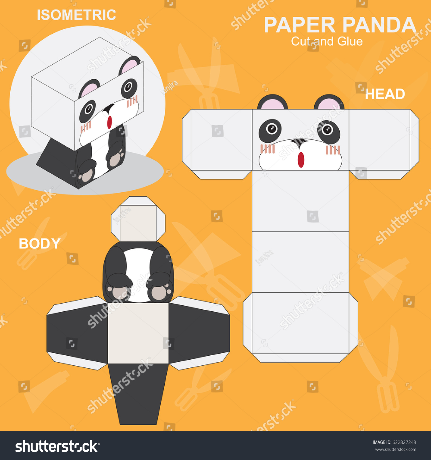 Panda Paper Craft Template Stock Vector Royalty Free 622827248
