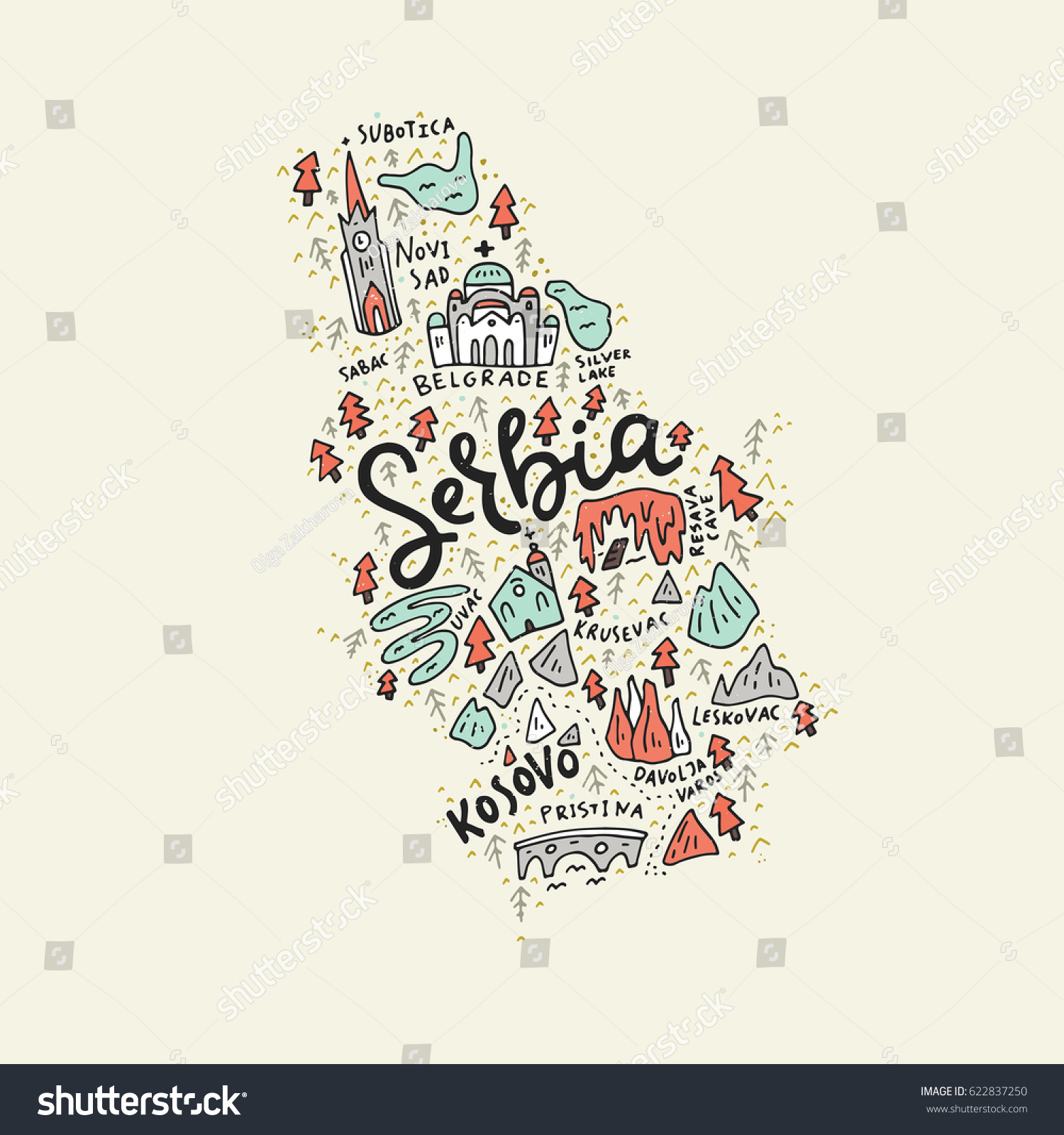 Vector Illustration Map Serbia Made Captions Stock Vector (Royalty ...