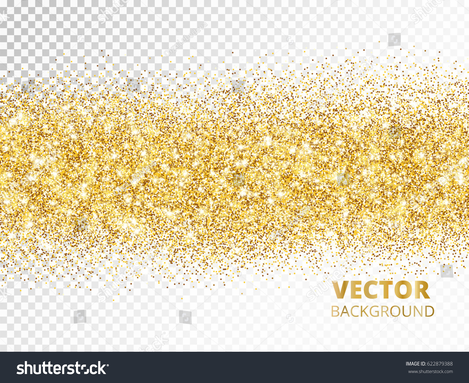 sparkling glitter border isolated on transparent background golden dust golden rectangle of glitter confetti