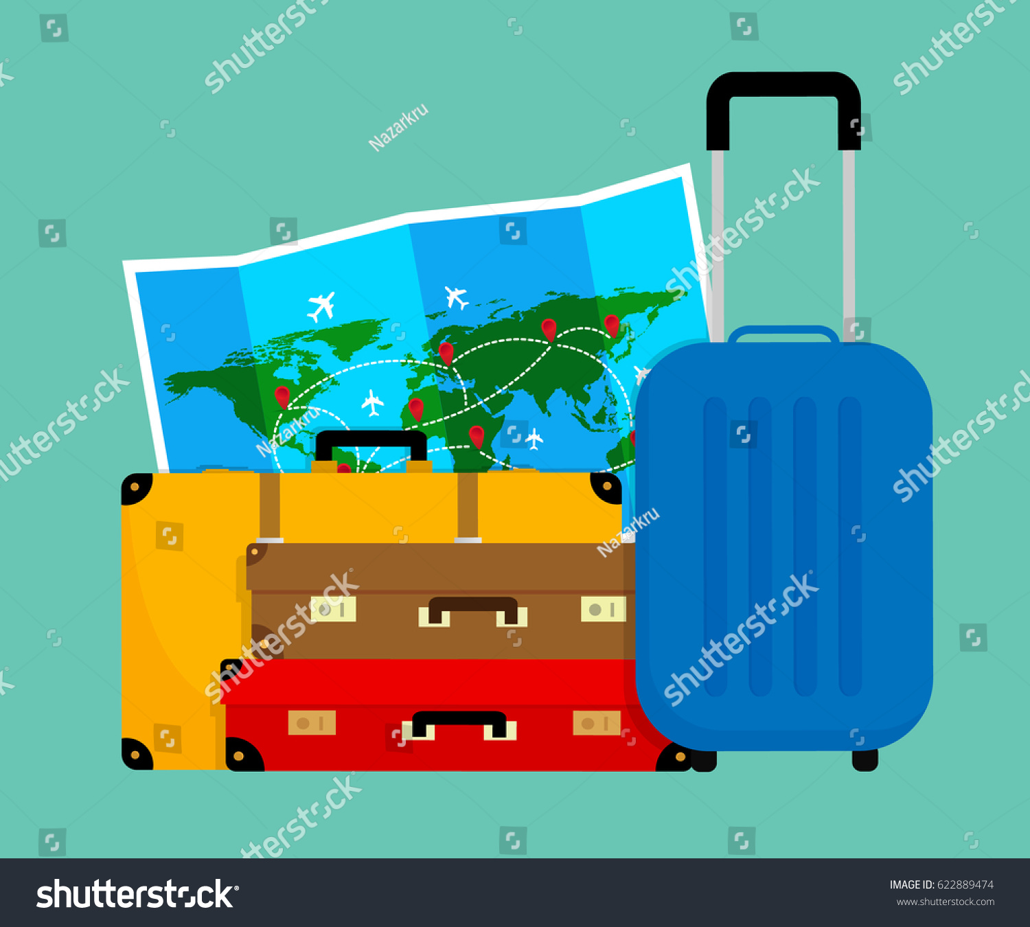 Colorful travel bags folded world map vectores en stock 622889474 colorful travel bags and folded world map vector illustration flat design gumiabroncs Choice Image