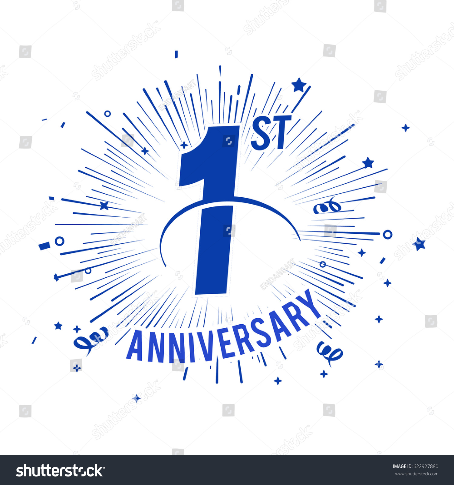 St anniversary logo firework swoosh stock vector