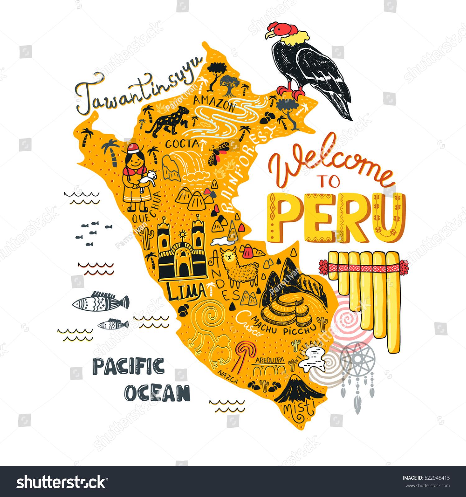 Illustreret Kort Over Peru Vector Illustration Lagervektor