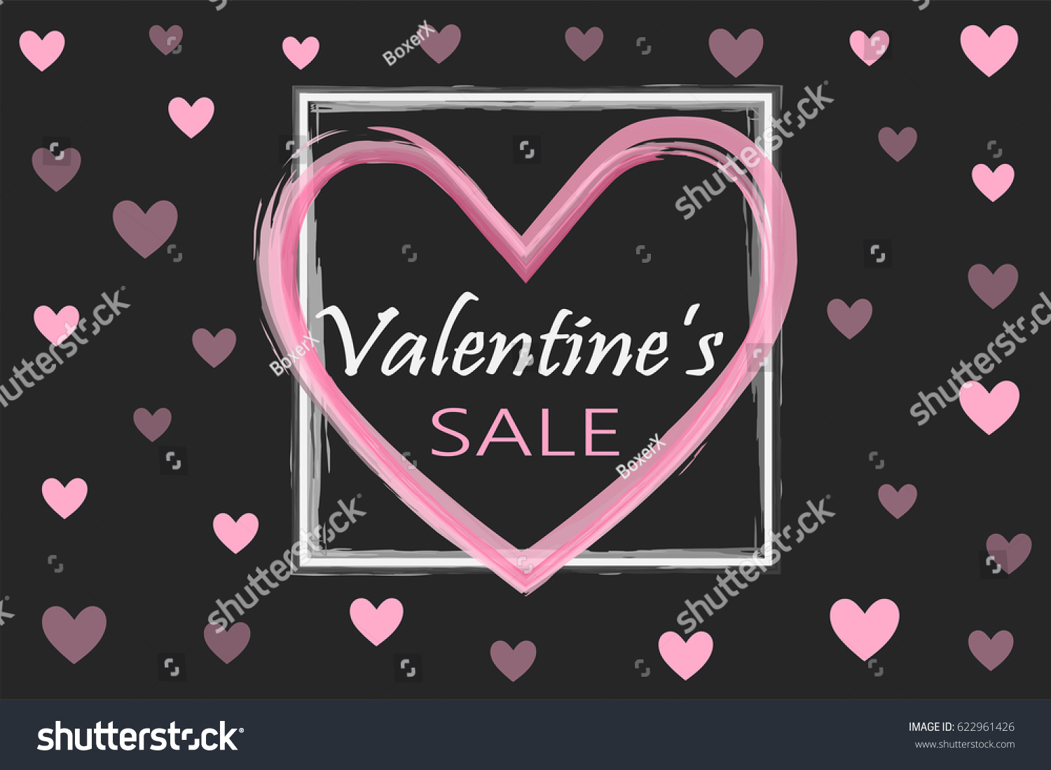 Valentineu0027s Day Sale Background. Holiday Black And Pink Style Card Design  Concept