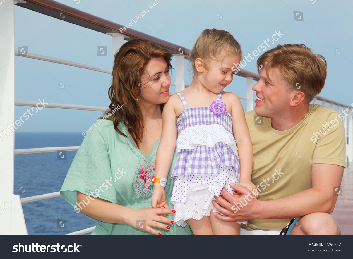 Happy Parents Small Daughter Enjoy Sea Stock Photo (Edit Now) 62296897
