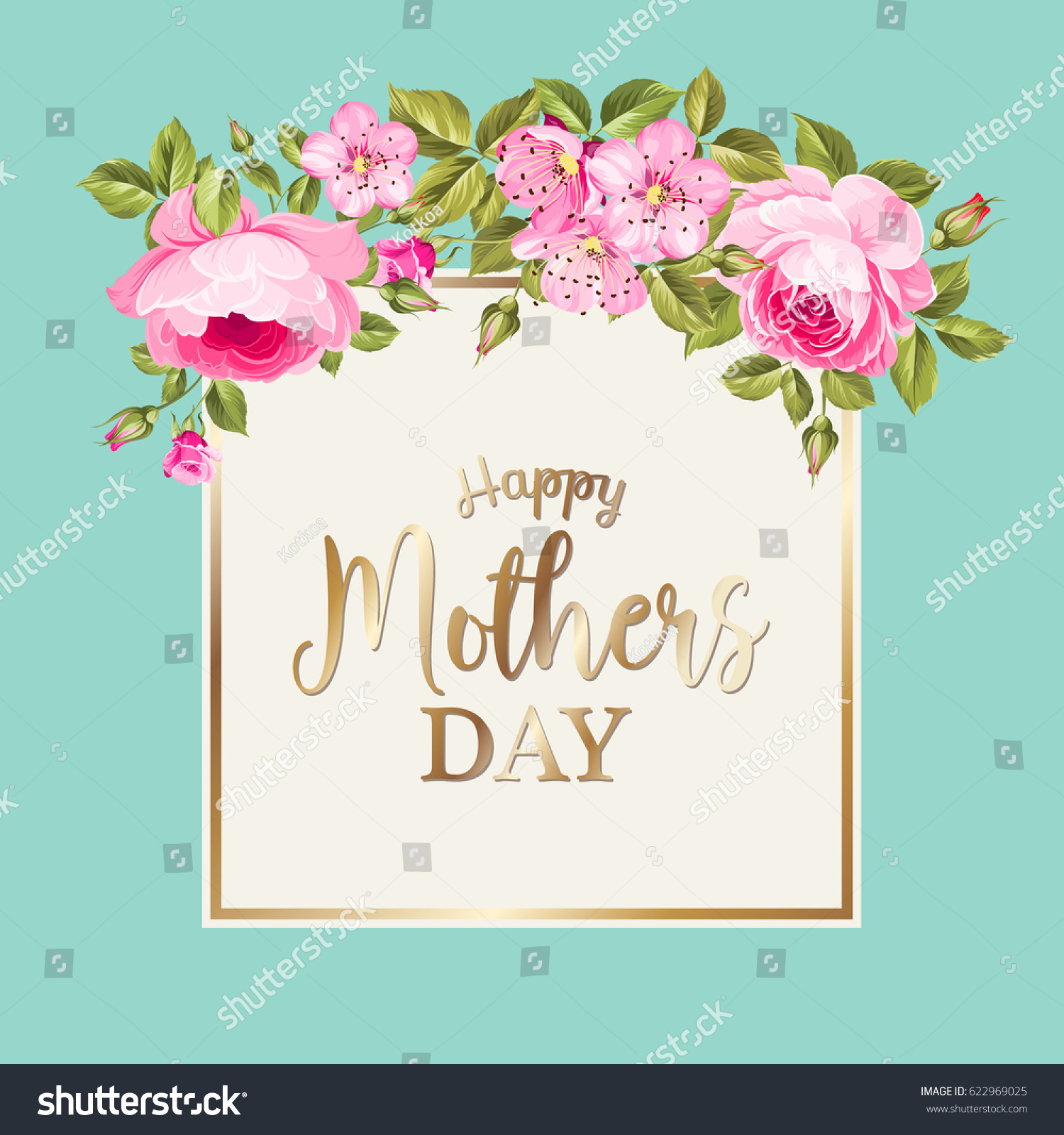 Happy mothers day greeting card red stock vector 622969025 happy mothers day greeting card with red rose garland text rectangle golden border and kristyandbryce Image collections