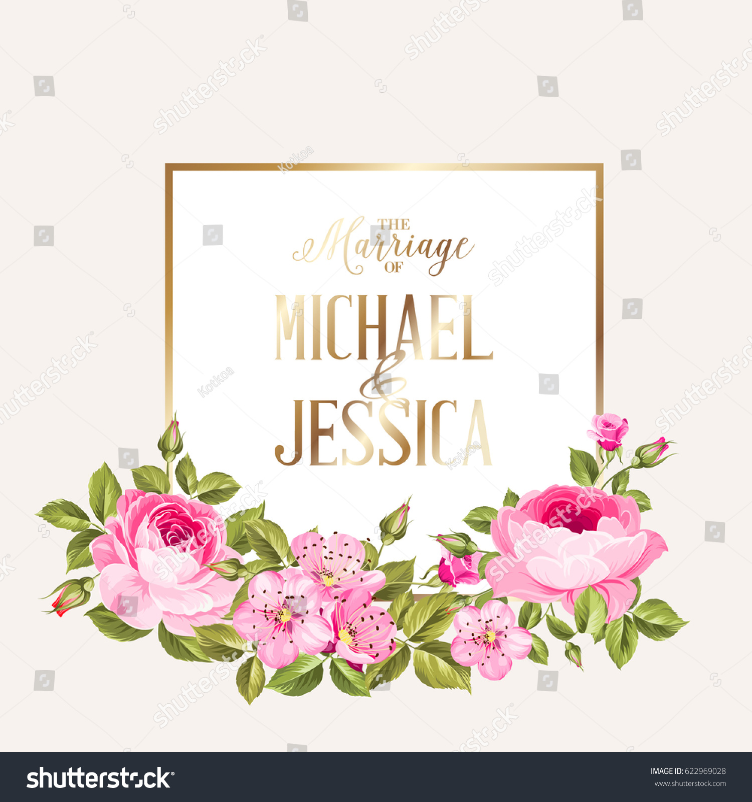 Marriage Invitation Card Pink Flowers Modern Stock Vector Royalty