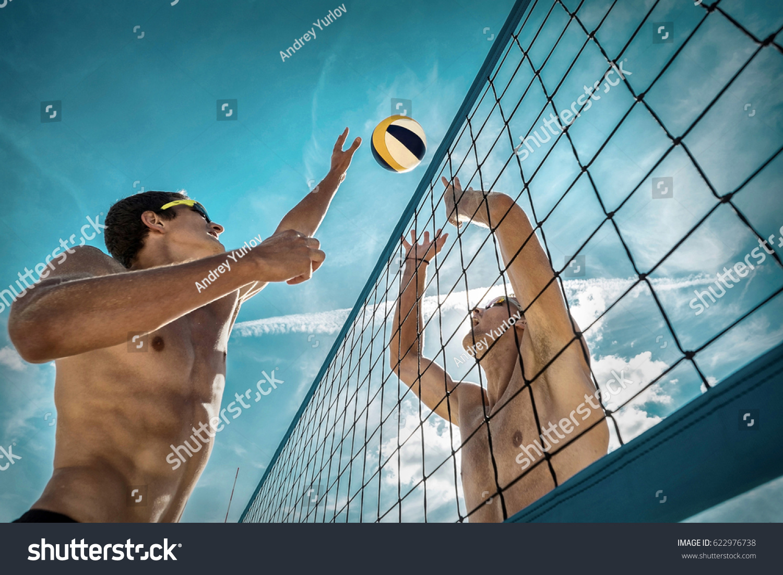 Beach Volleyball Players Sunglasses Under Sunlight Foto de stock ...