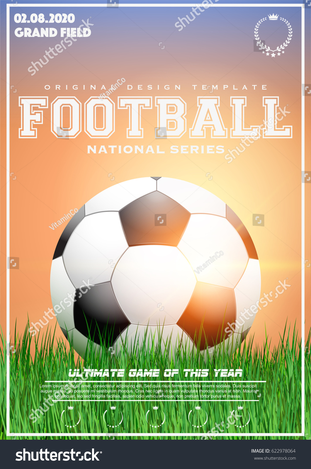 poster template football tournament soccer ball のベクター画像素材