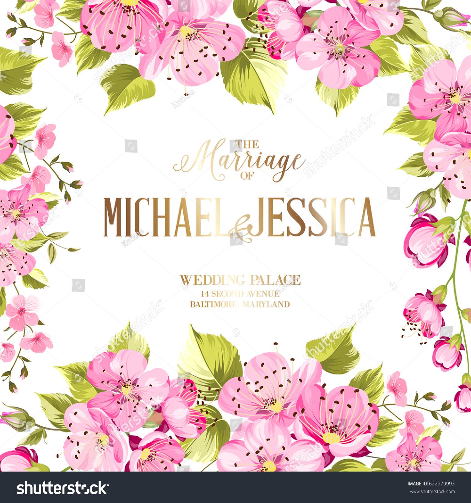 Wedding Invitation Card Spring Flowers Vintage Stock Vector Royalty