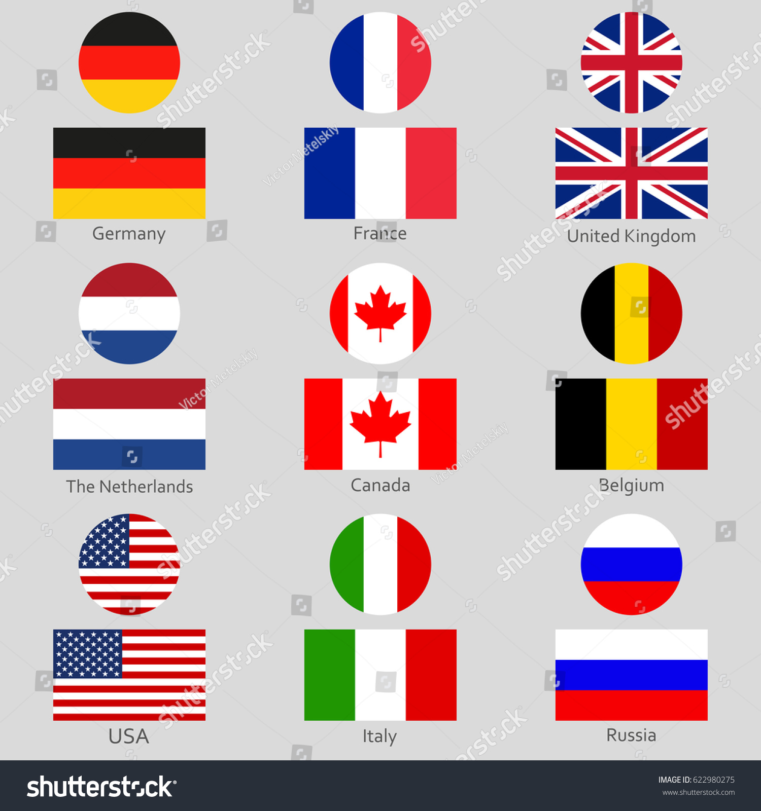 Flags Icon Set National Symbol Usa Stock Vector 622980275 Shutterstock