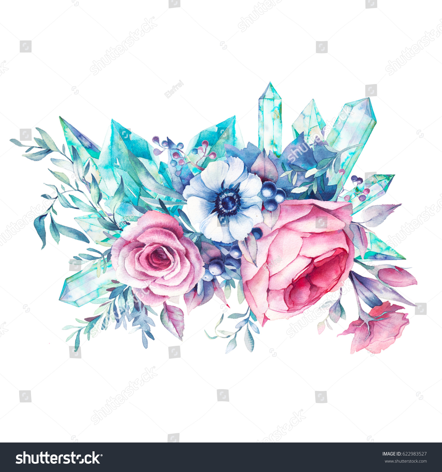 Watercolor Bouquet Flowers Gemstones Hand Painted Stock Illustration