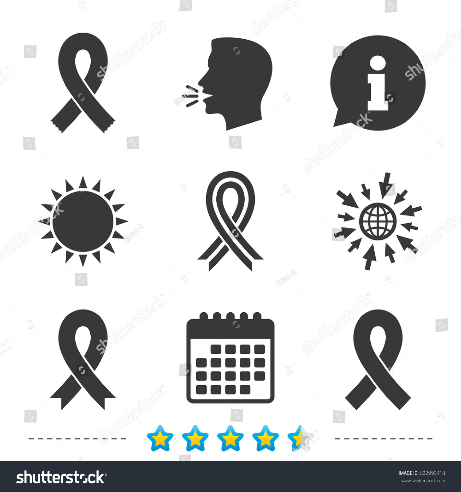 Breast Cancer Awareness Icons Ribbon Sign Stock Vector Royalty Free