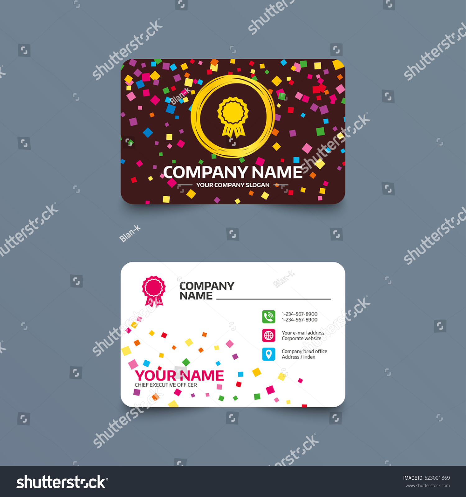 business card template confetti pieces award stock vector
