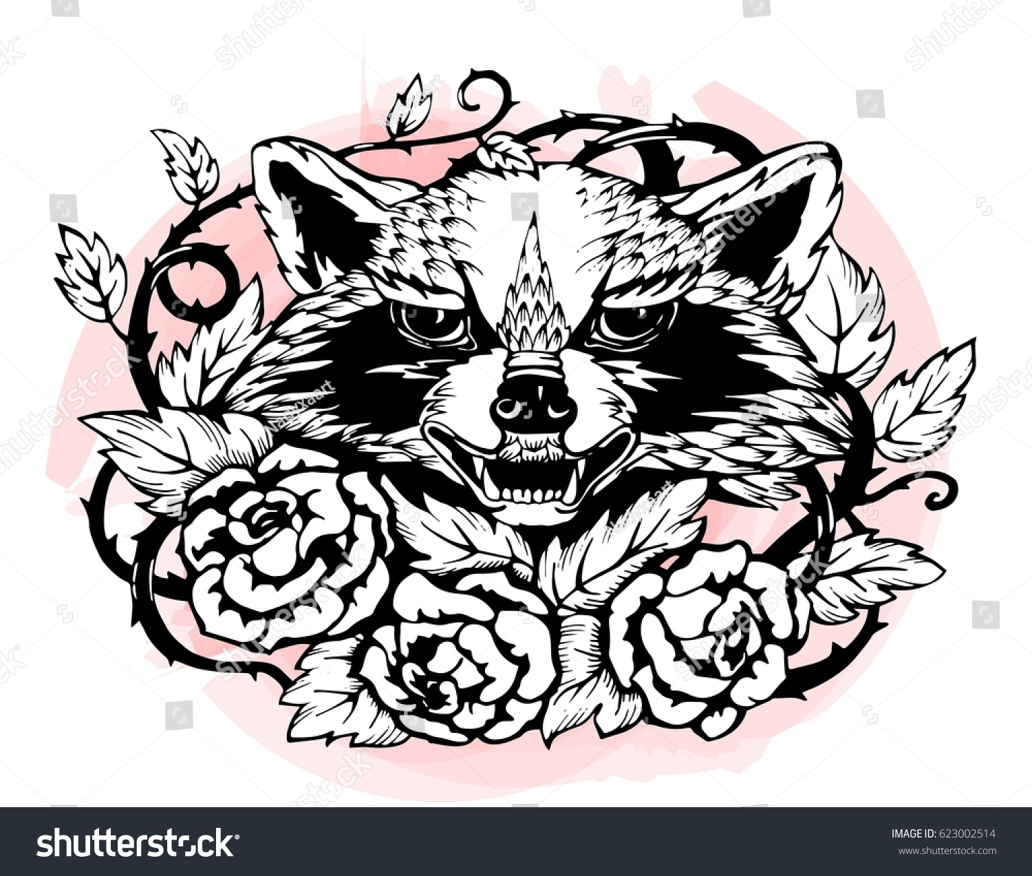 Angry Raccoon In Roses With Thorns Black And White Pattern For Tattoo Print Or