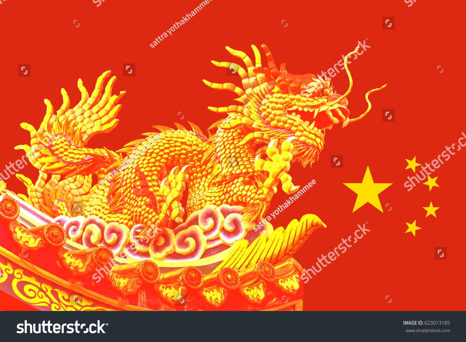 Golden Chinese Dragon On Red Background Stock Photo Edit Now