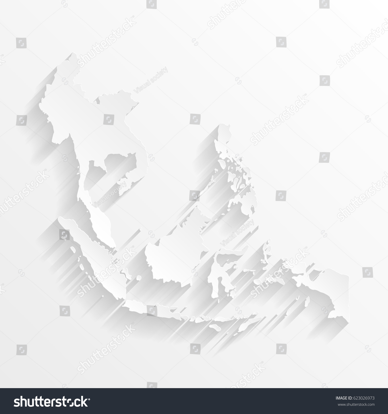 Southeast asia map shadow cut paper stock photo photo vector southeast asia map with shadow cut paper isolated on a white background vector illustration publicscrutiny Choice Image