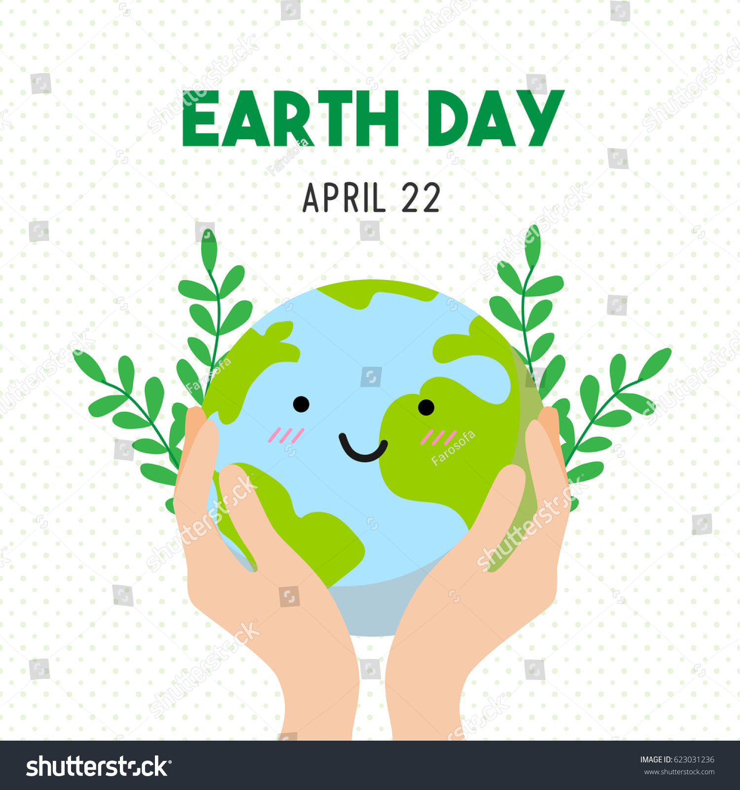 Earth Day Cartoon Card Earth Day Stock Vector (Royalty Free) 623031236