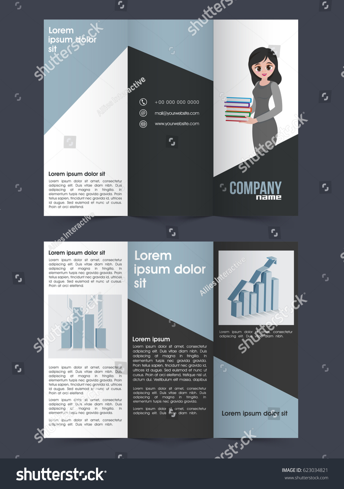 Two Page Tri Fold Brochure Template design with infographic elements for your Business reports