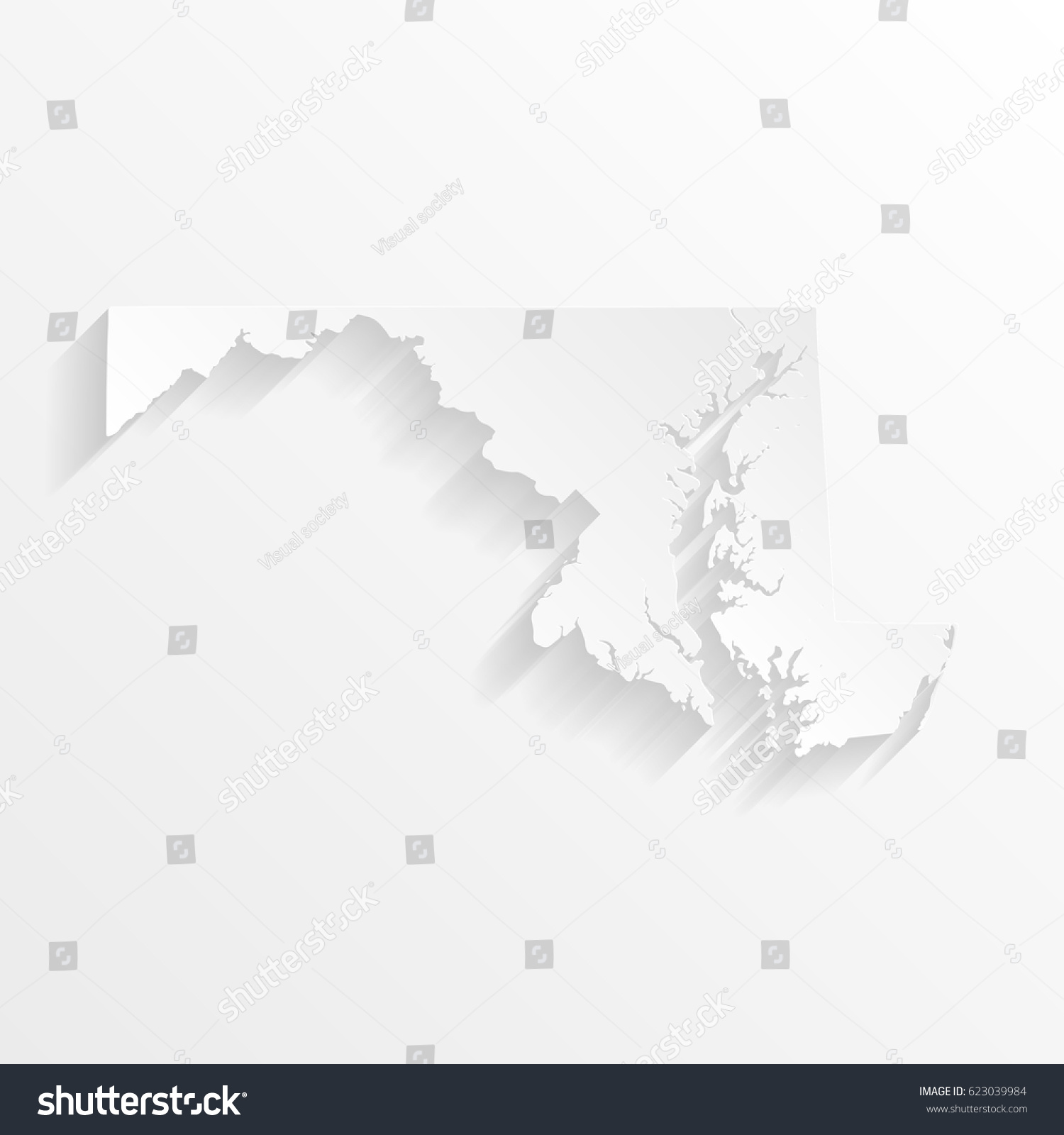 Maryland Map Shadow Cut Paper Isolated Stock Vector 623039984