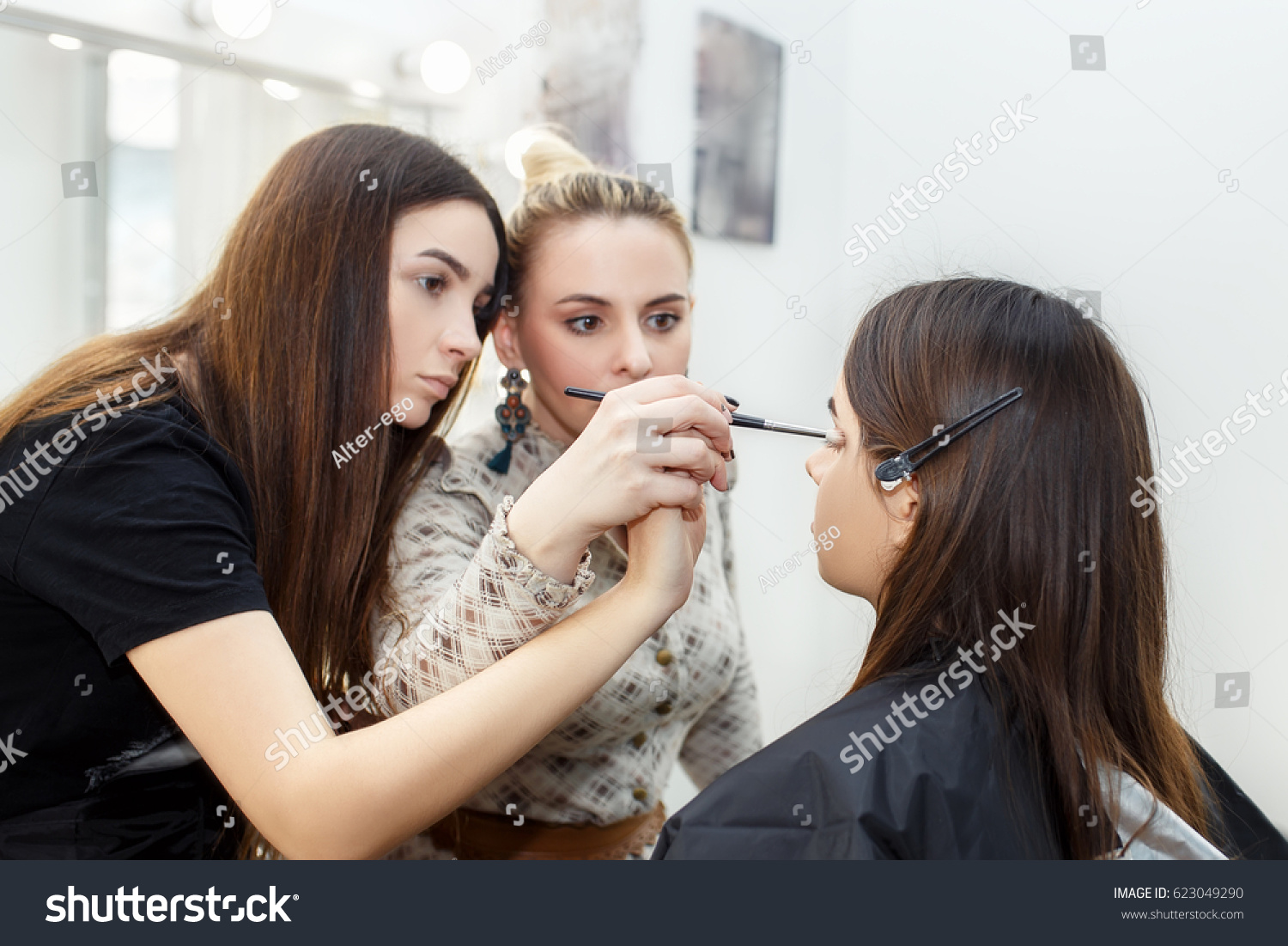 Makeup teacher her student girl makeup stock photo 623049290 makeup teacher with her student girl makeup tutorial lesson at beauty school make baditri Image collections