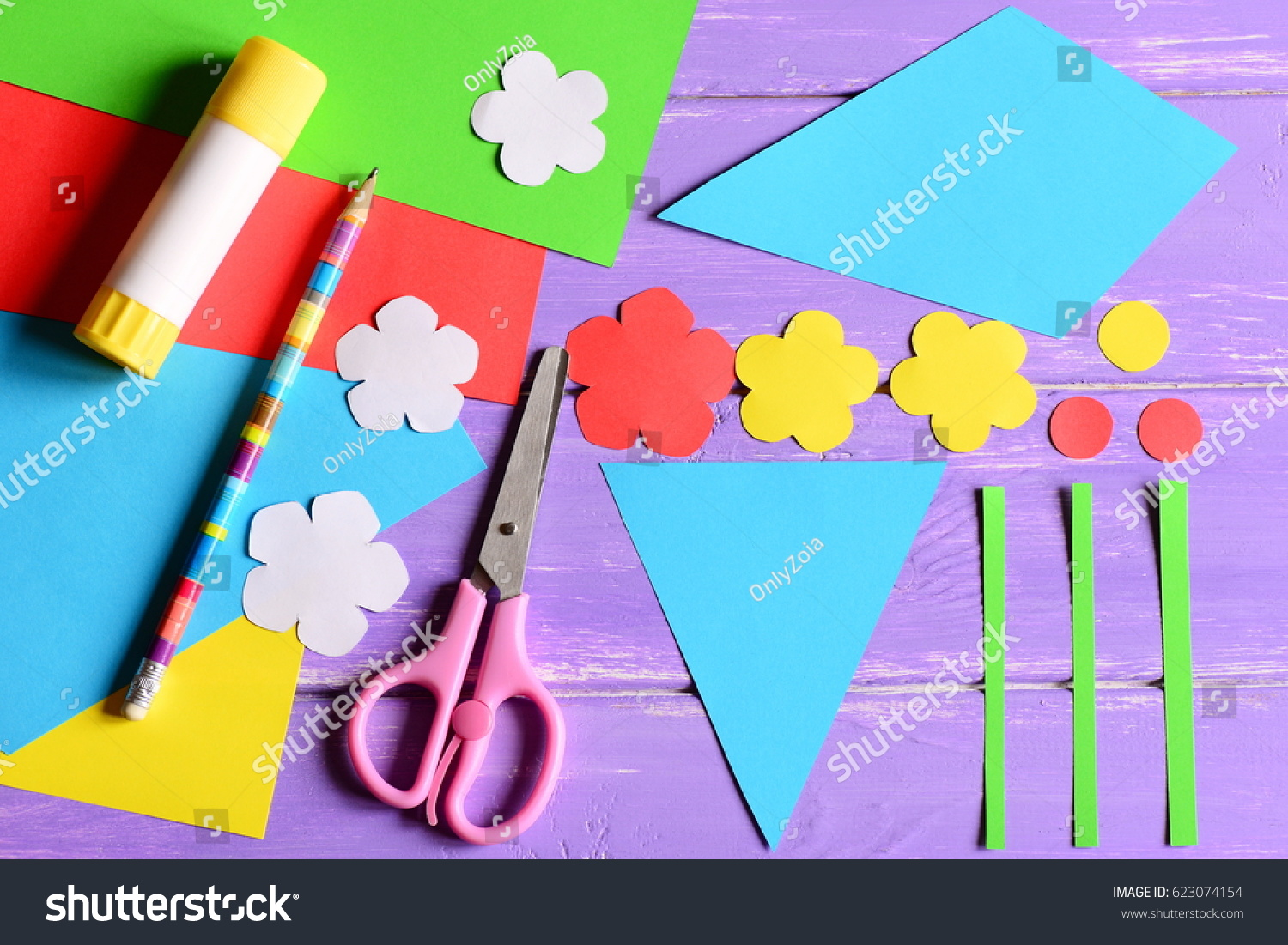 Creating Paper Crafts Mothers Day Birthday Stock Photo Edit Now